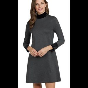 Jude Connally Grey Mock Neck Dress w/ Velvet Cuffs